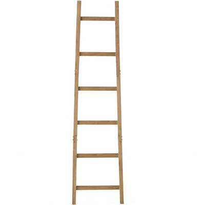 Lakeside Decorative Leaning Ladder Wall Decoration - Rustic Home Décor Accent