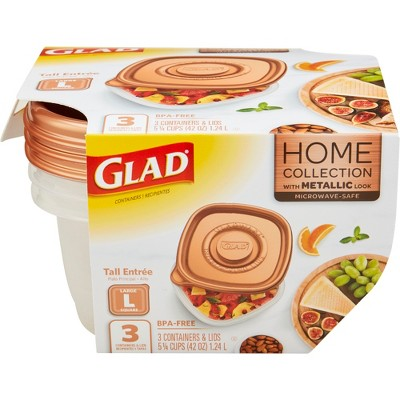 Glad Home Collection Tall Entrée Food Storage Containers - 42oz - 3ct