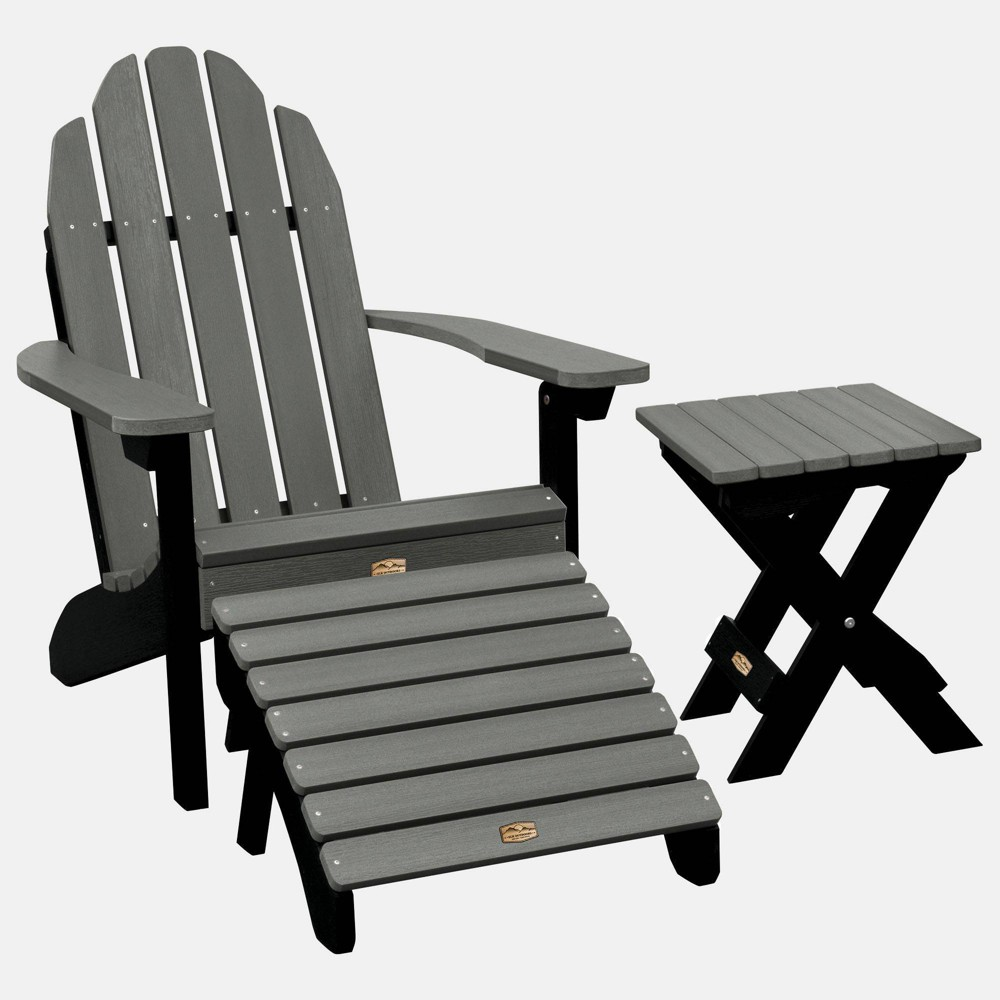 Image of Essential Adirondack Patio Chair with Ottoman & Side Table Flint Gray - highwood