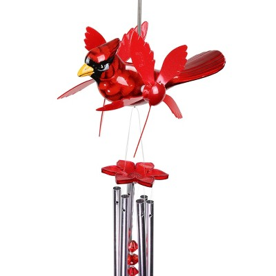 """24"""" Metal Cardinal Spinning Wings Wind Chime Red - Exhart"""