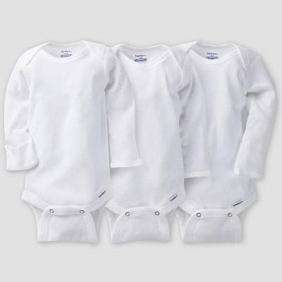 Gerber Baby 3pk Long Sleeve Onesies - White Newborn