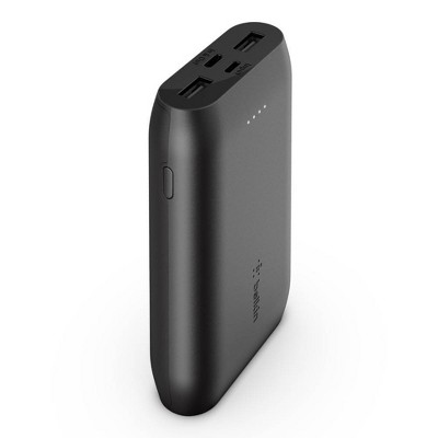 Belkin 10000mAh 3-Port Power Bank with 6in USB-C to USB-A Cable - Black