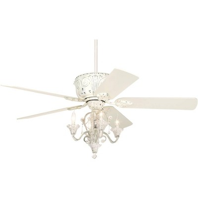 "52"" Casa Vieja Vintage Chic Ceiling Fan with Light LED Crystal Chandelier Rubbed White for Living Room Kitchen Bedroom Family"
