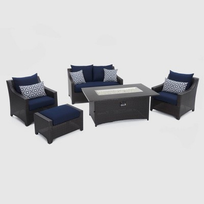 Deco 5pc Loveseat and Club Fire Seating Set Navy Blue - RST Brands