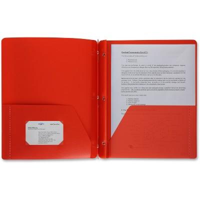 Business Source Poly Portfolio 3 Prong 2 Pkts LTR .3mil Red 20887