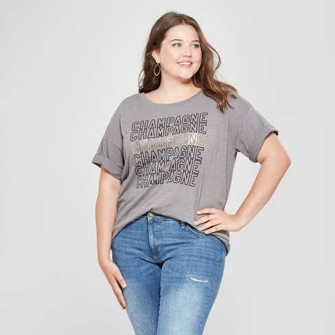 a310b8bf15d Women s Plus Size Short Sleeve Champagne Graphic T-Shirt - Fifth Sun  Charcoal