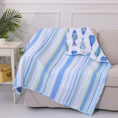 Catalina Fish Quilted Throw - Levtex Home