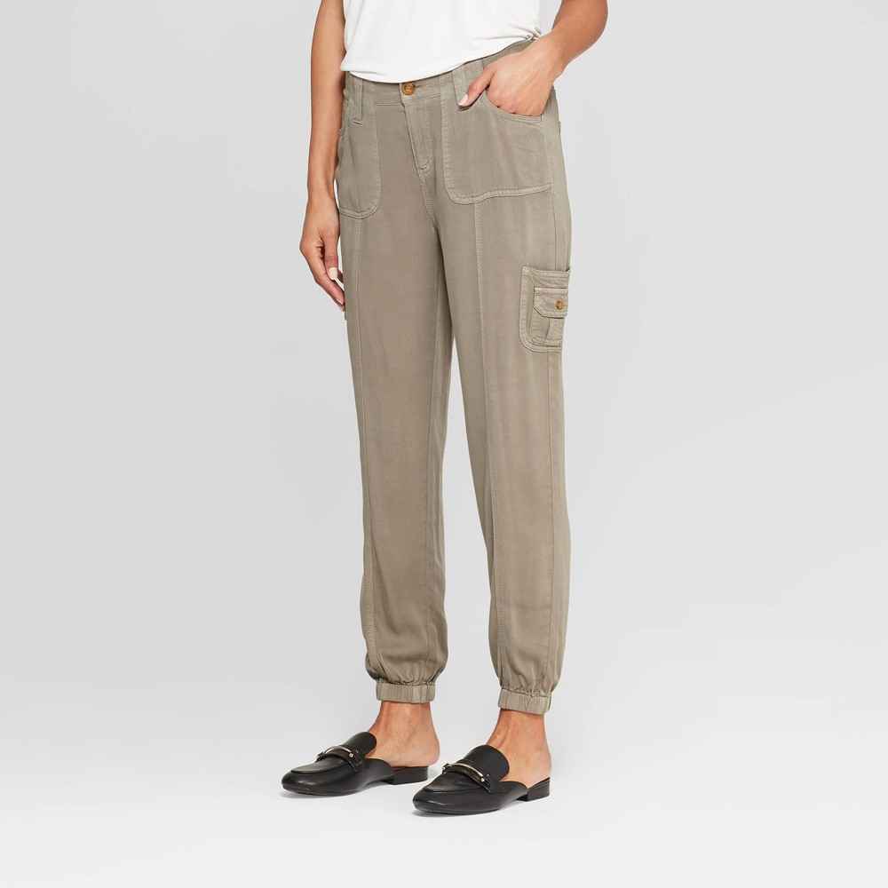 Womens Mid Rise Jogger Cargo Pants Knox Rose Olive Green Xl