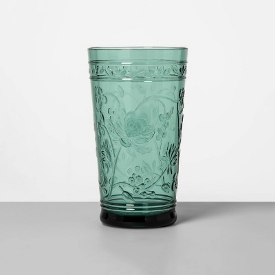 22oz Plastic Floral Embossed Tall Tumbler Green - Opalhouse™