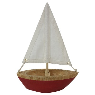 White Canvas Red Wooden Boat Décor Threshold Target
