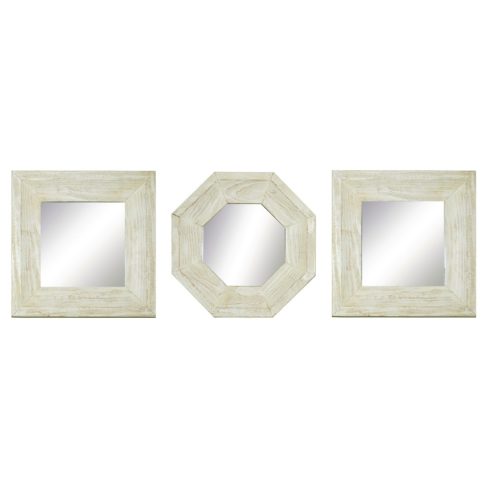Image of Square Reclaimed Wood Mirror Set of 3 White - PTM Images