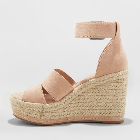 7eacff2fa5f Women's Caroline Microsuede Ankle Strap Espadrille Wedge - Universal  Thread™ Blush 11