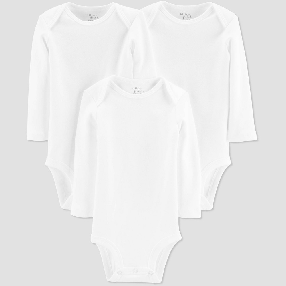 Image of Little Planet Organic by Carters Baby 3pk Long Sleeve Bodysuits - White 12M, Kids Unisex