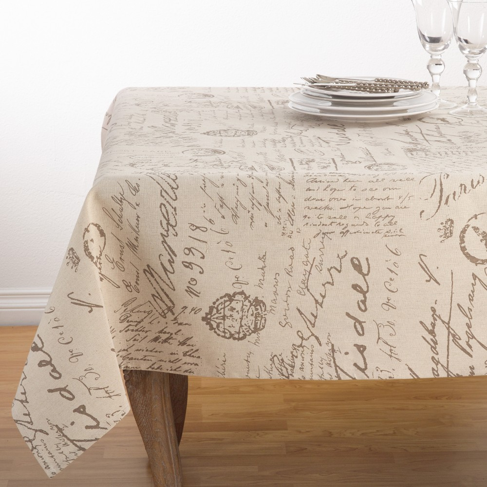 Beige Letters Tablecloth Saro Lifestyle