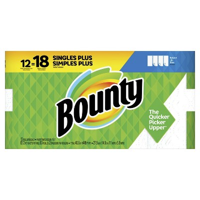 Bounty Select-A-Size Paper Towels White - 12 Singles Plus Rolls = 18 Regular Rolls