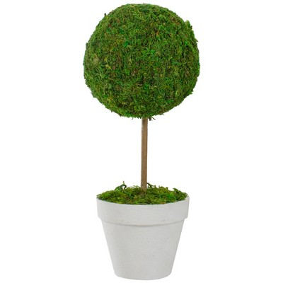 "Northlight 15"" Reindeer Moss Ball Potted Artificial Spring Topiary Tree - Green/White"