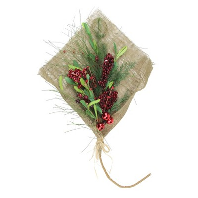 """Northlight 32"""" Red Berries With Green Accents Holiday Bouquet Wrapped in Burlap Christmas Decor"""