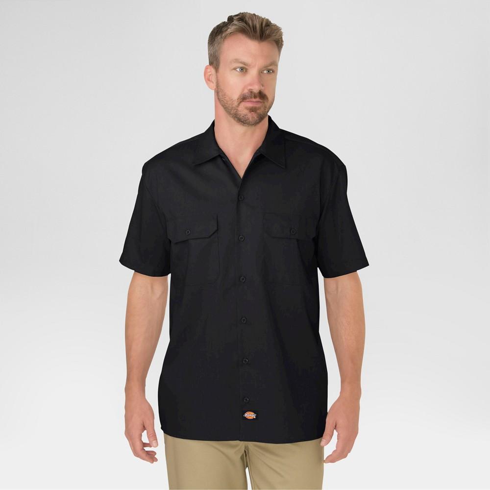 Dickies Men's Big & Tall Original Fit Short Sleeve Twill Work Shirt- Black Xxxl