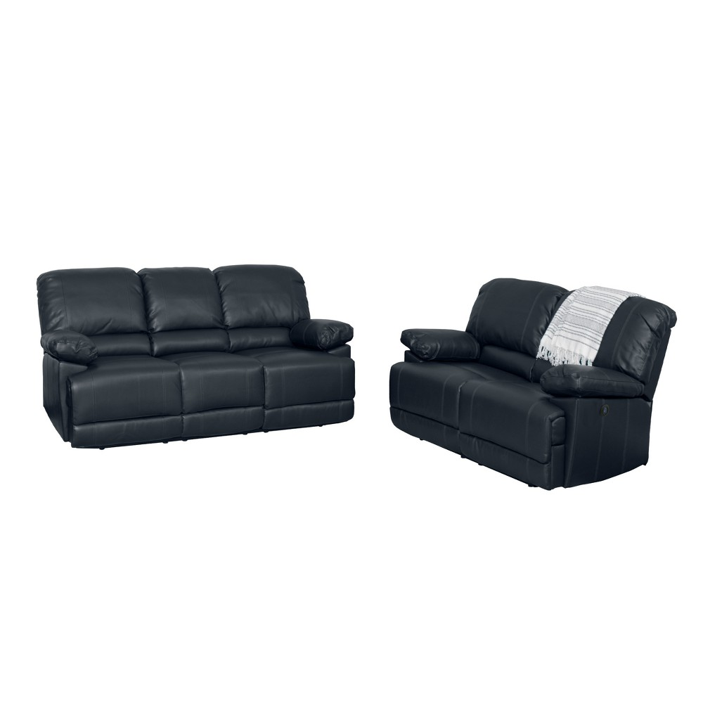 Image of 2pc Leather Power Recliner Sofa and Chair Set Black - CorLiving