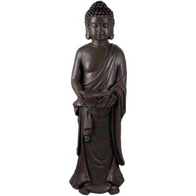 "Northlight 19.5"" Gray Standing Buddha with Lotus Outdoor Garden Statue"