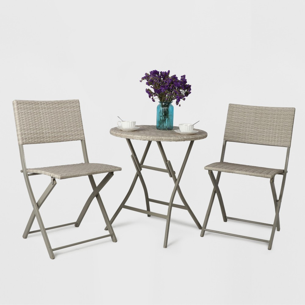 3pc All Weather Wicker Folding Patio Bistro Set - Gray - Threshold