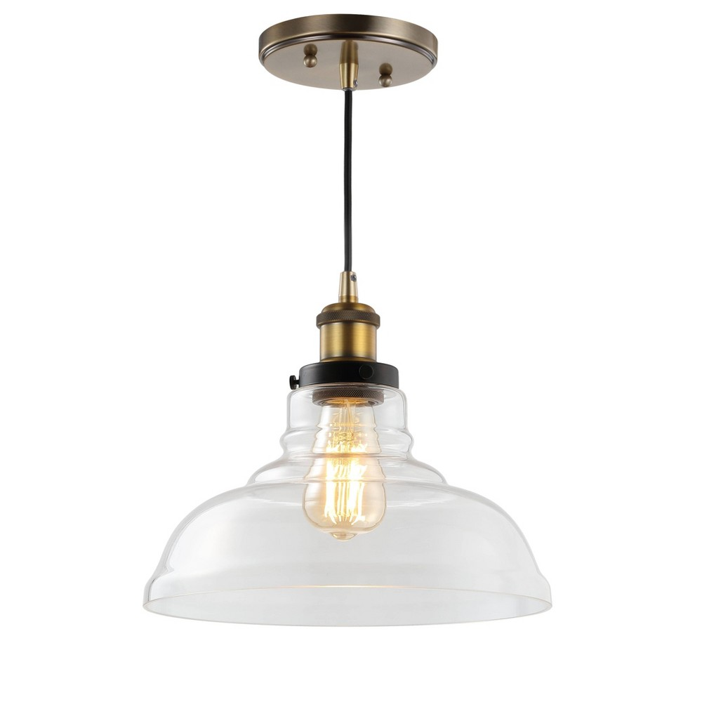 "Image of ""11"""" Litchfield Farmhouse Metal/Glass LED Pendant Brass (Includes Energy Efficient Light Bulb) - JONATHAN Y"""