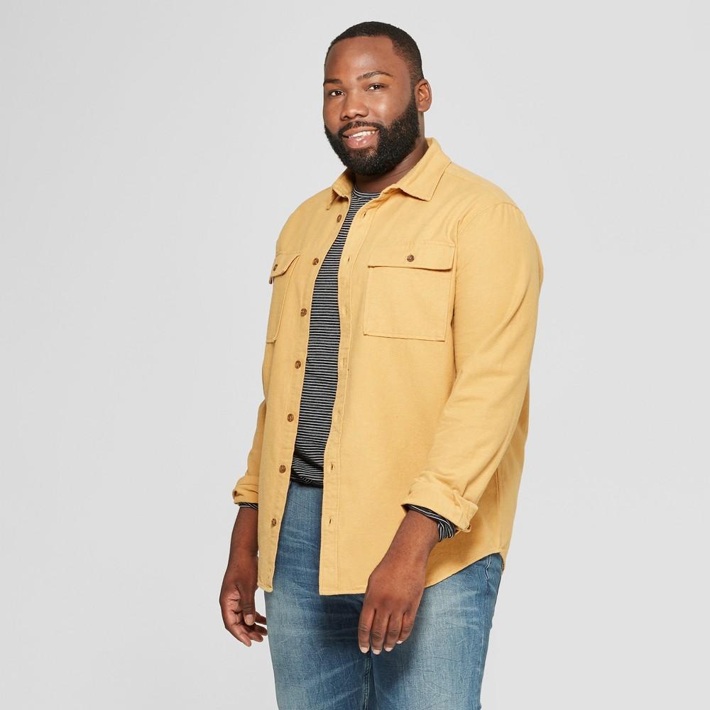Men's Big & Tall Long Sleeve Pocket Flannel Button-Down Shirt - Goodfellow & Co Yellow 4XBT