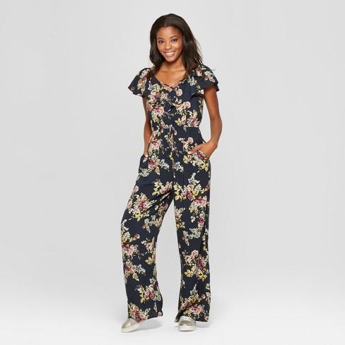 48c1e8ed9e9 Women s Floral Print Ruffle V-Neck Tie Front Jumpsuit - Xhilaration ...