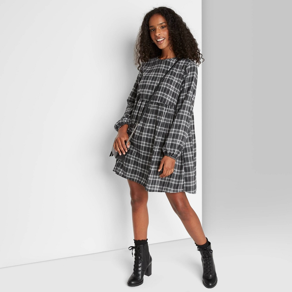 Cheap Women' Plaid Long leeve Woven Babydoll Dre - Wild Fable™