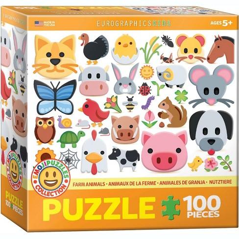 Eurographics Inc. Emoji Puzzle Farm Animals 100 Piece Jigsaw Puzzle - image 1 of 4