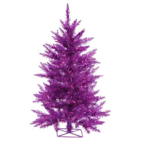 2ft Pre-Lit Purple Artificial Christmas Tree Metal Tree Stand and Purple  LED Lights - 2ft Pre-Lit Purple Artificial Christmas Tree Metal... : Target