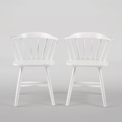 Set of 2 Ahart Farmhouse Spindle Back Rubberwood Dining Chairs White - Christopher Knight Home
