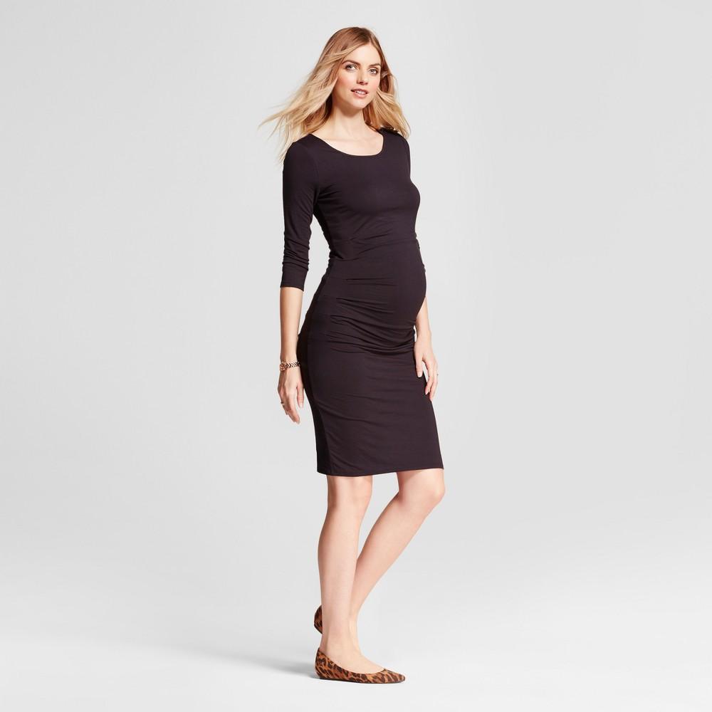 Image of Maternity 3/4 Sleeve Pleated Dress - Isabel Maternity by Ingrid & Isabel Black Xxl, Women's