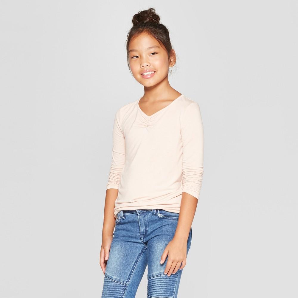 Girls' Long Sleeve Cinched Front T-Shirt - art class Beige M