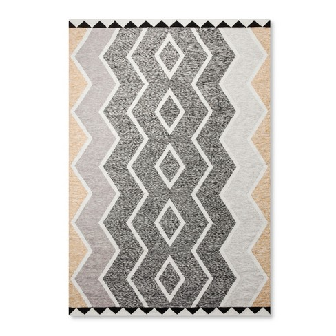 Black White Damask Woven Area Rug 7 X10