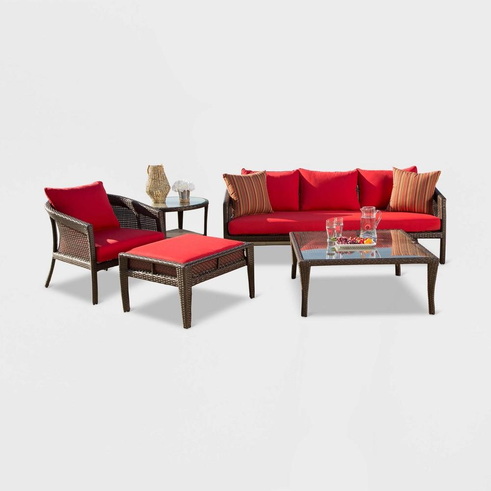 Encino Sunbrella Outdoor Wicker 5pc Patio Chat Set - Red - Abbyson Living