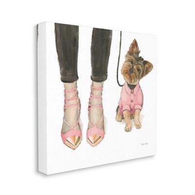 Stupell Industries Glam Dog Walk Heels Fashion Pink Gold Design