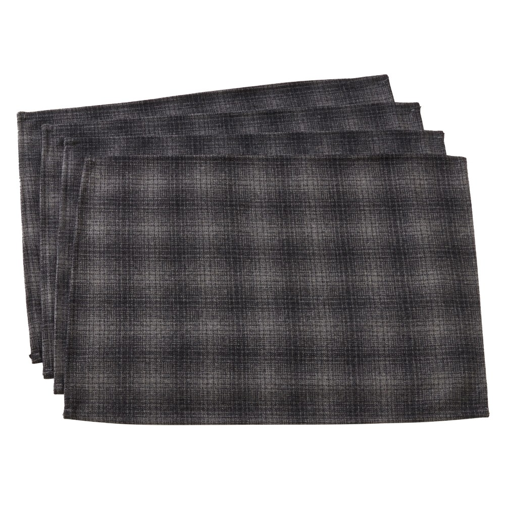 Set of 4 Wool And Poly Blend Grey Plaid Table Mats Gray - Saro Lifestyle