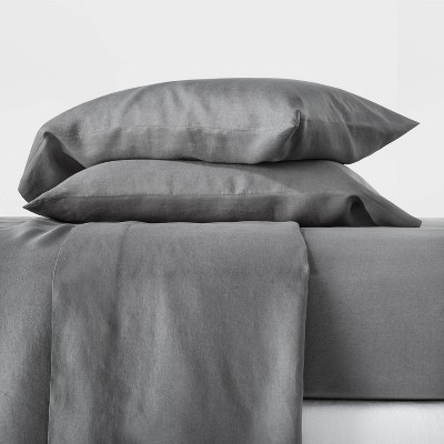 Full 100% Hemp Solid Sheet Set Dark Gray - Casaluna™