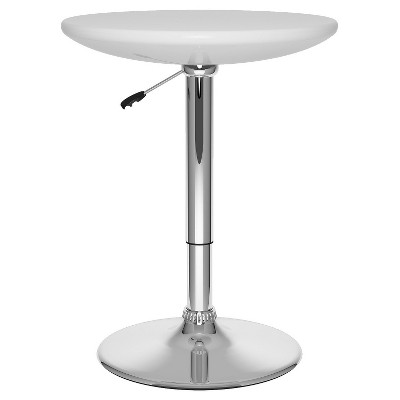 Adjustable Height Round Bar Table   Glossy White   CorLiving