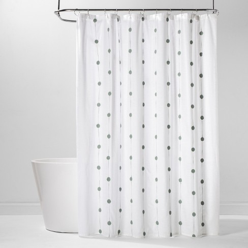 Geo Embroidered Shower Curtain White/Green - Project 62™ - image 1 of 2