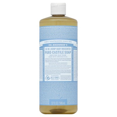 Dr. Bronner's Unscented Baby-Mild Pure Castile Soap - 32 oz.
