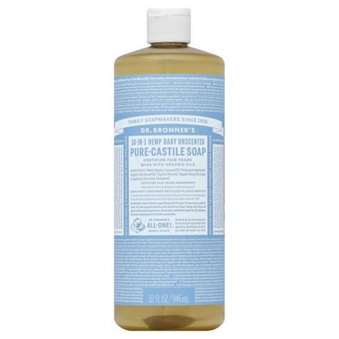 Dr Bronner S Unscented Babymild Pure Castile Soap 32 Oz