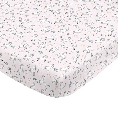 NoJo Super Soft Pink Unicorn Nursery Mini Crib Fitted Sheet