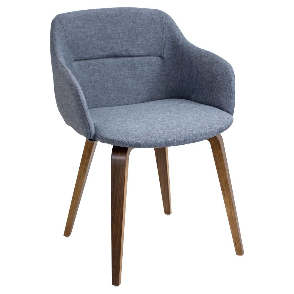 Campania Mid Century Modern Chair - Walnut Wood/Blue Fabric - LumiSource