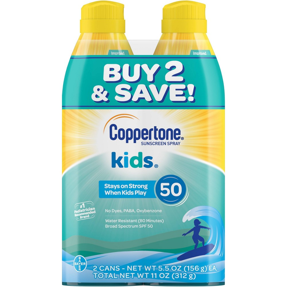 Image of Coppertone Kids Sunscreen Spray - SPF 50 - 11oz - Twin Pack