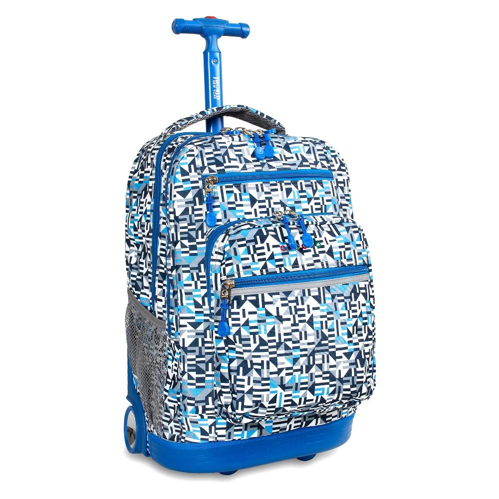 J World 20 Sundance Laptop Rolling Backpack - Geo Blue
