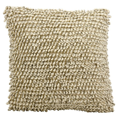 "Ivory/Gray Heavy Single Loop Throw Pillow (20""x20"") - Nourison - image 1 of 1"