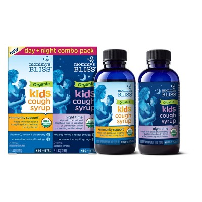 Mommy's Bliss Organic Kids Cough Syrup Relief & Immunity Boost Day/Night Combo Pack