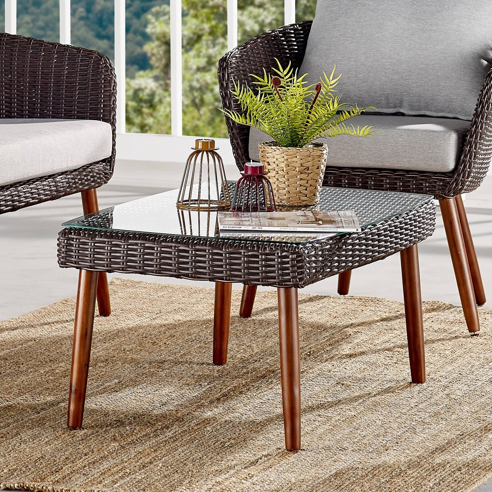 Image of All-Weather Wicker Athens Outdoor Coffee Table with Glass Top Brown - Alaterre Furniture